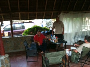 We are making ourselves comfortable in a deserted hotel – note Willy's wonderfull self constructed anti mosquito stretcher in the back ground…