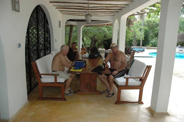 Geoff , Willy and Andre cooling down in the Geoff's Watamu mansion..