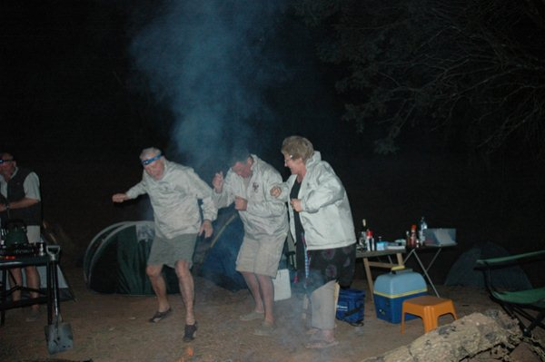 Mike, Mark and Noel doing some traditional war dance to keep Lions and bad elements away