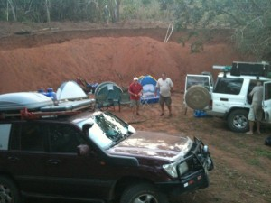 Setting up bush camp in an old sand quarry….