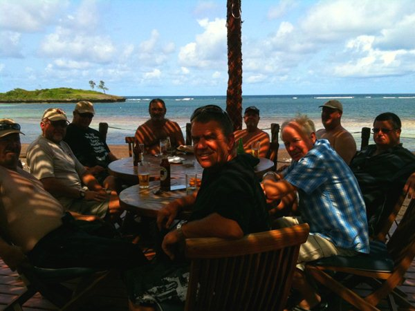 The boys enjoying some lunch on Turtle beach in Watamu