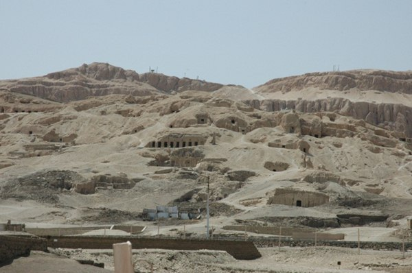 Holes cut into mountainside on route to Valley of the Kings