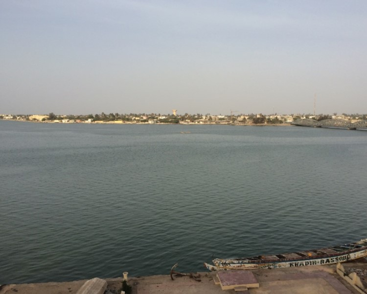 An overview from the hotel's roof top showing the huge Senegal River