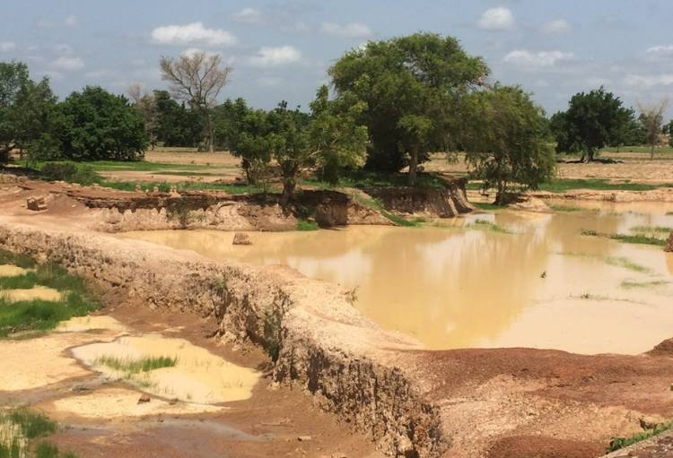 Left overs of gold washing plants in northern Ghana