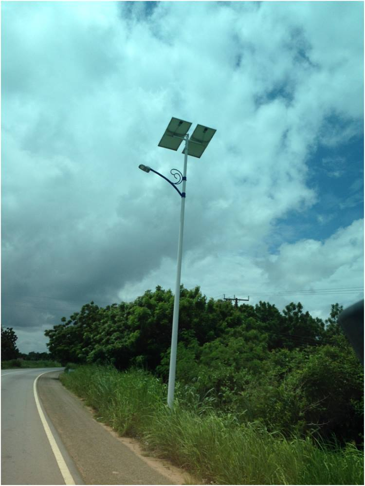 Many street lights in Ghana are powered by solar panels