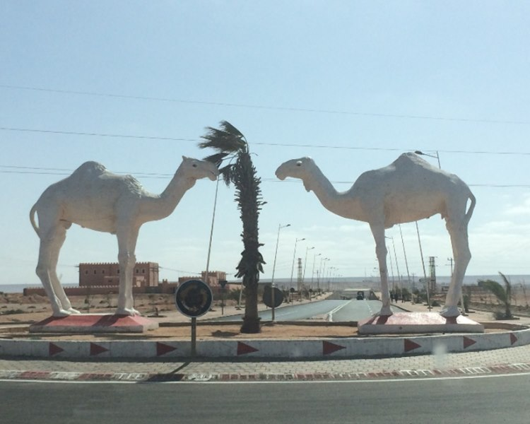 most morocco towns have big statues at their entrance