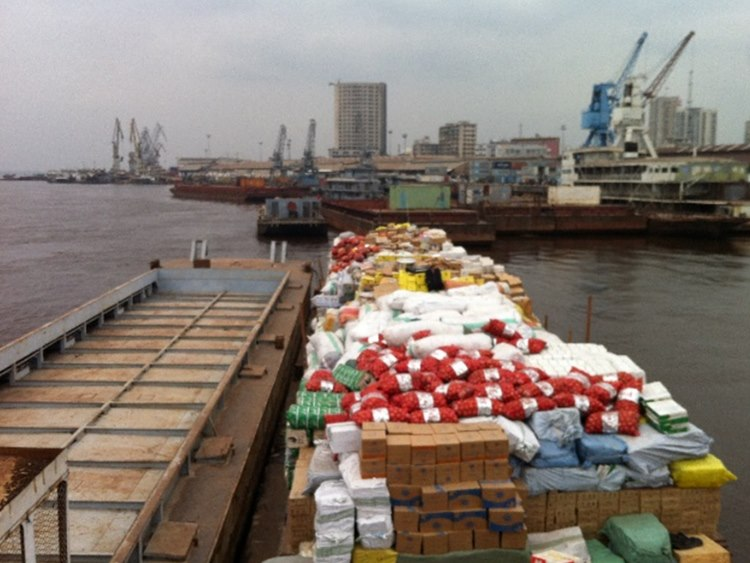 One fully loaded barge