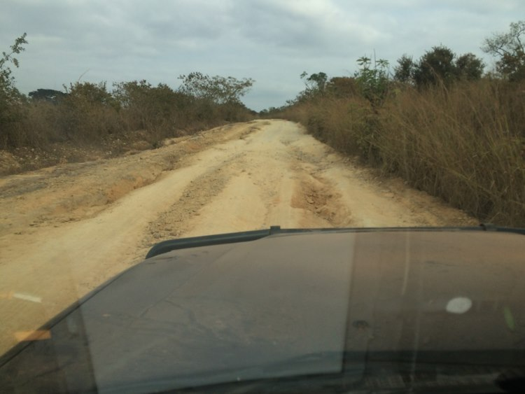 "The area next to these potholes is mentioned as ""road"" on the map of Angola"