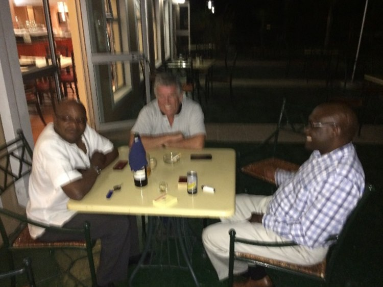 Late night meeting with Namibian's commissioner for environmental affairs and the provincial councillor of northern Namibia