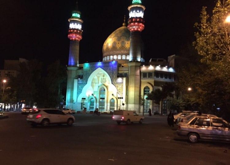 Imam Jaafar Sadek Mosque nicely lit up at night in Tehran