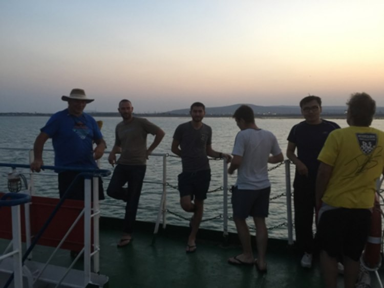 Team Lipstick and` newly found friends on the ferry between Aktau and Baku