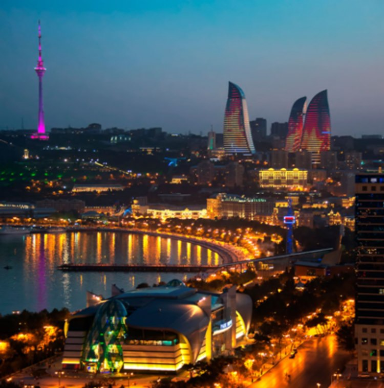 The flaming towers of Baku at night