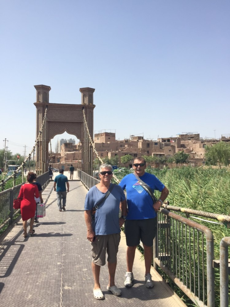 over the bridge to the old part of Kashgar