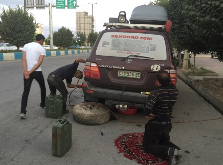 remove spare wheel to check extra tank