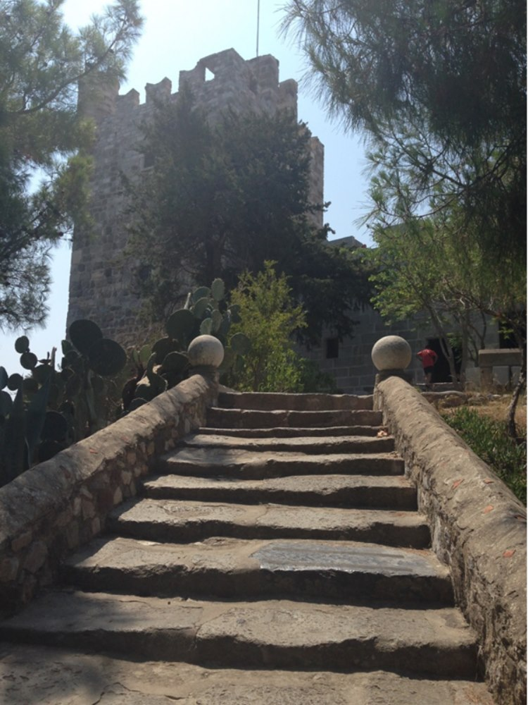 Many steps leading to the top of the castle