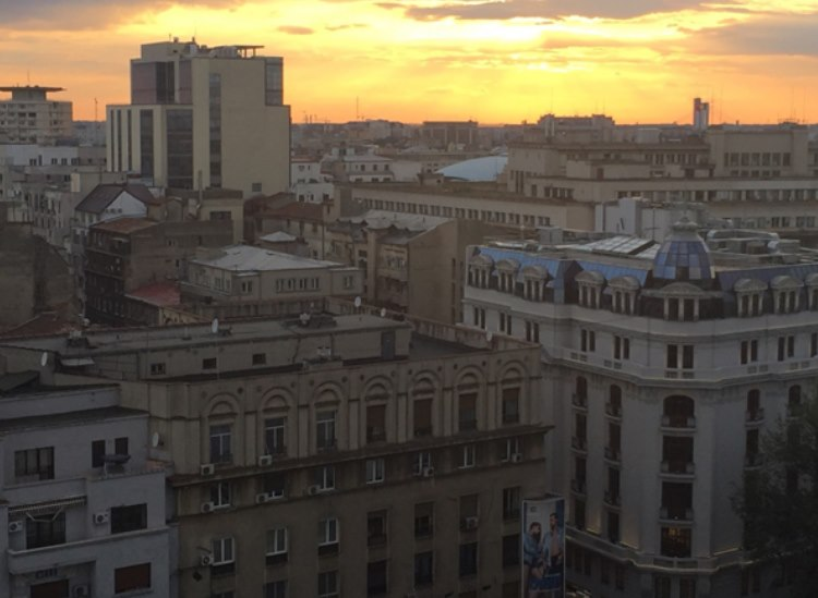 Night fall over Bucharest