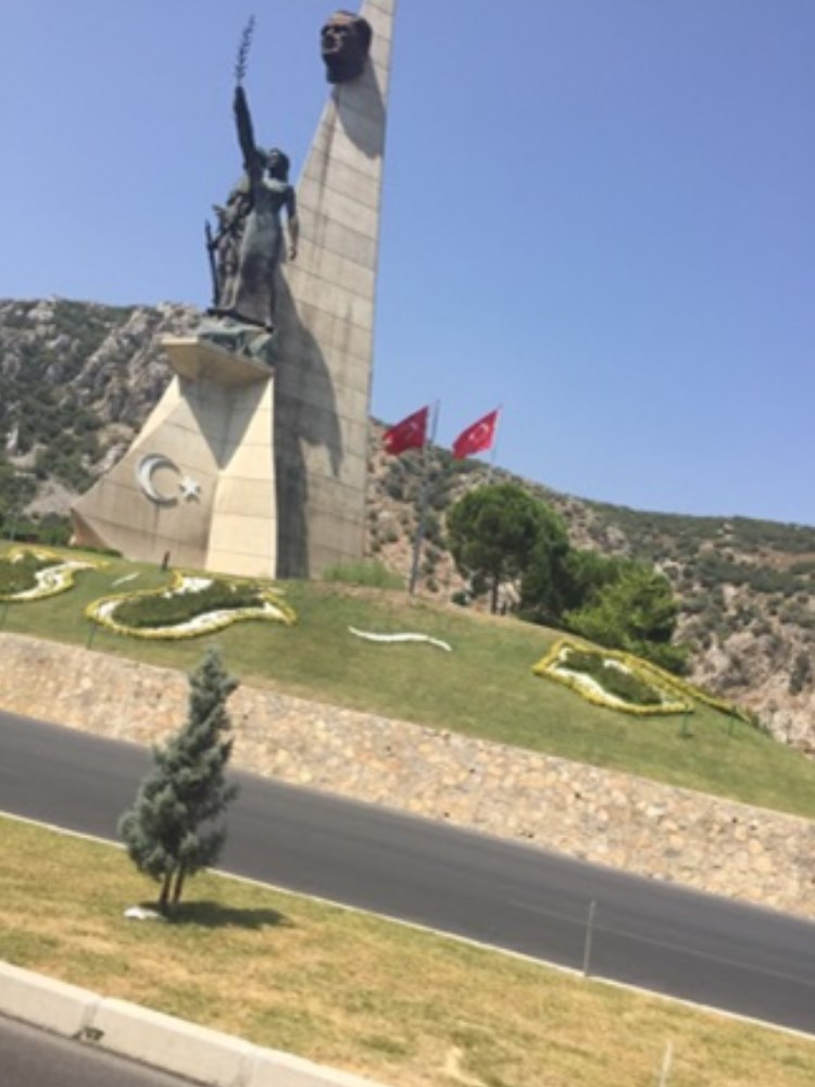 One of many monuments seen along the highway to Istanbul