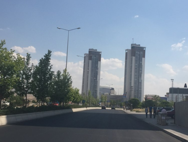 modern buildings and wide roads driving south out of Ankara